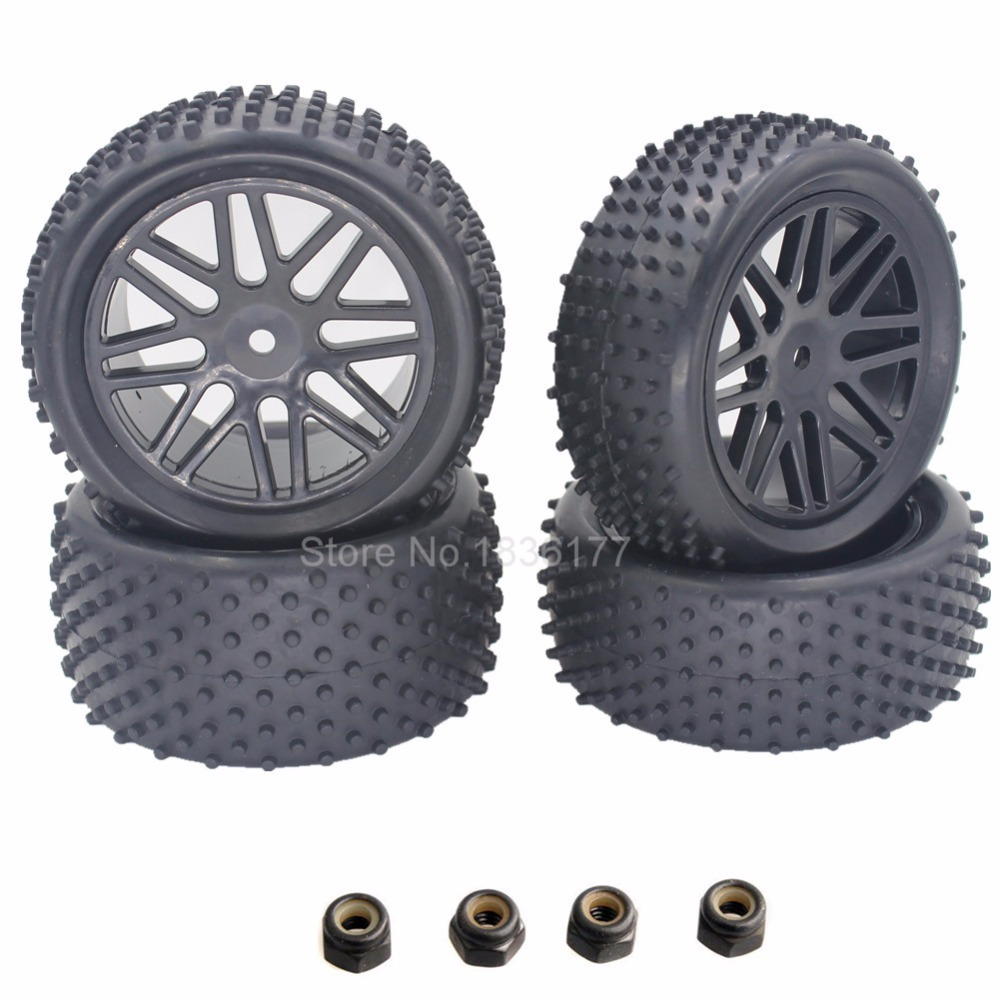 4 adet RC 1/10 Buggy Jantlar ve Lastikler 12mm Hex RC Off Road Araba Için HSP HPI Lastik