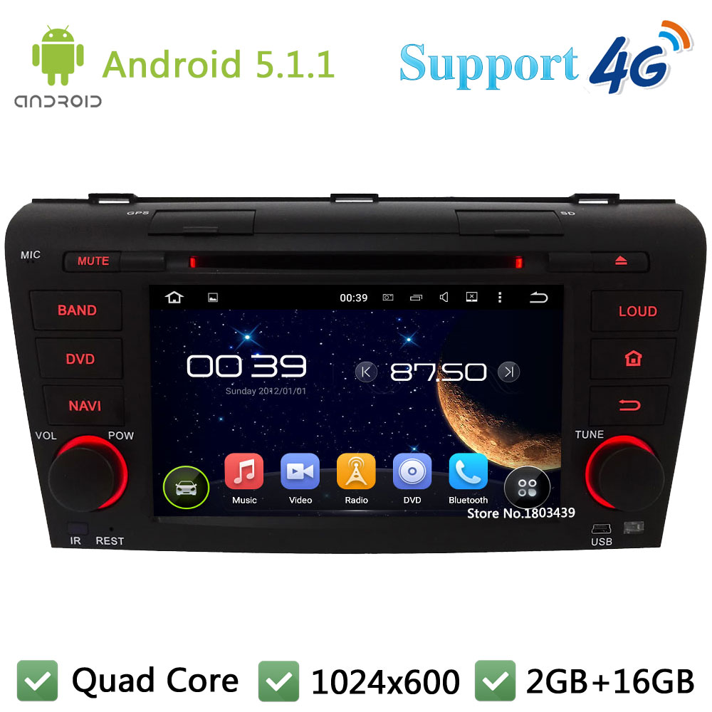 Quad Core 7 1024*600 2DIN Android 5.1.1 Araba Multimedya DVD Video Player Radyo Stereo 3G/4G WIFI GPS harita MAZDA 3 Için 2004-2009