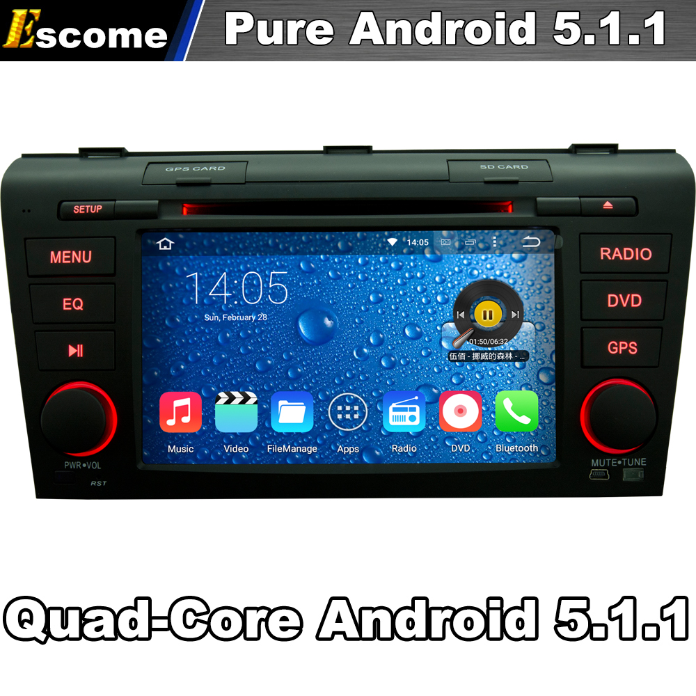 4 Çekirdekler Quad Core Saf Android 5.1 Car DVD Player Mazda 3 2004 2005 2006 2007 2008 2009 2G ROM Bluetooth GPS Ile Navi
