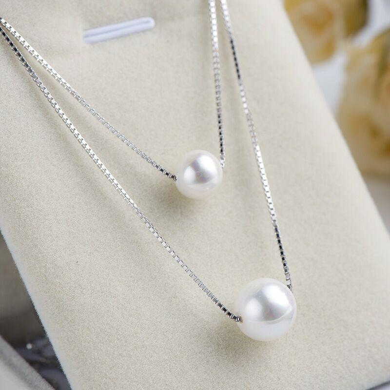 Fashion Hot Sale Korean Simple Style White Gold Double Natural Shell Pearl For Women Girls Necklace Jewelry Gift Wholesale