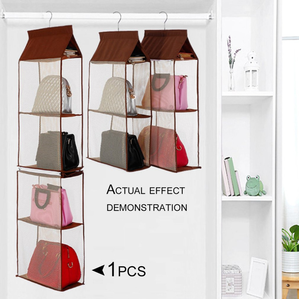 Detachable Non-woven Fabric Handbag Storage Organizer Multilayer Clothing Sorting Bags Household Supplies Bedroom Hanging Bag