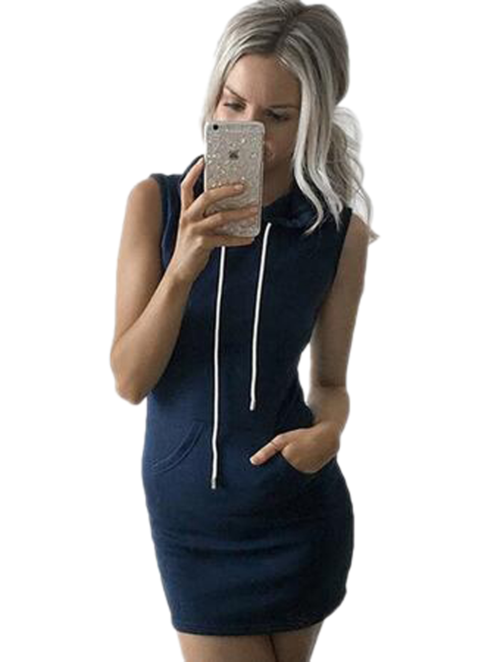 Hooded Sleeveless Pocket Bodycon Casual Mini Short Dress New Style Summer Dress Fashion New Arrival